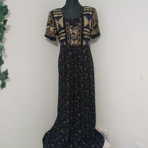 VTG Carole Little Pleated w/ Vest Maxi Dress